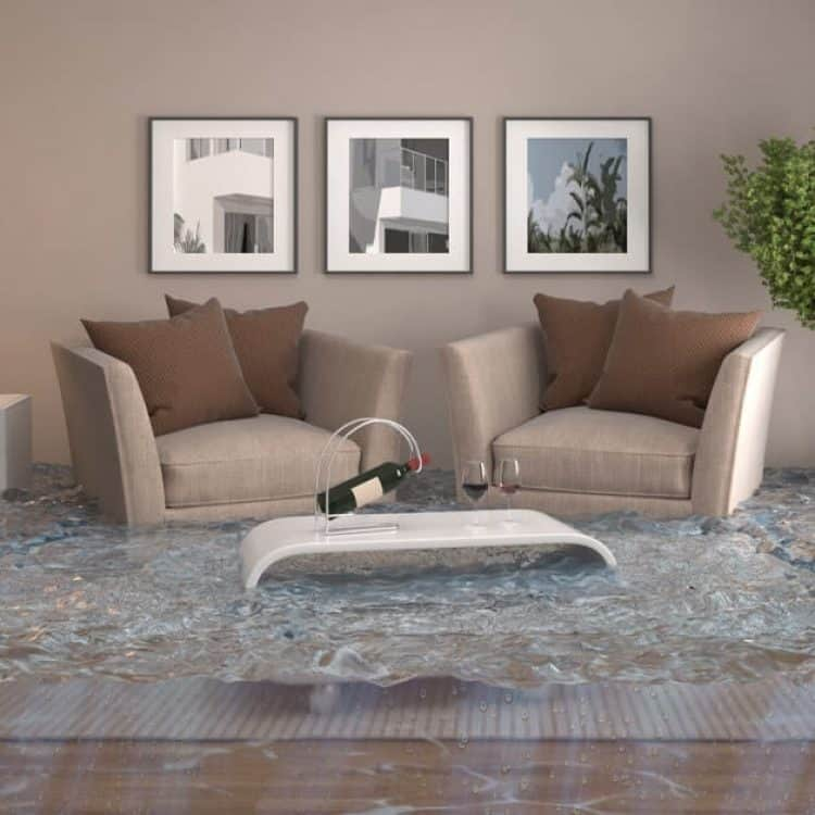 flooded living space
